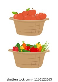 Cucumber and apples in basket, harvesting season. Fruits and vegetables harvested in pannier. Ripe tomatoes, carrot and peppers, homegrown meal vector