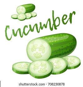 Cucumber. Cartoon vector icon isolated on white background. Series of food and drink and ingredients for cooking