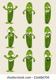 Cucumber in different moods, healthy food concept with cartoon facial expressions.
