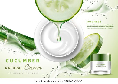 Cucumber natural cream with ingredients dripping serum in 3d illustration, top view of cream jar