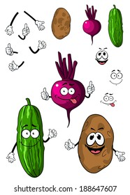 Cucumber, potato and beet vegetables in cartoon style with smiling faces