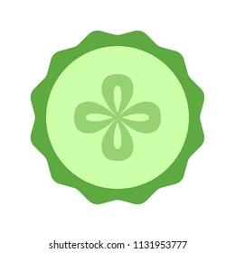 Cucumber slice closeup icon, green round piece of cucumber. Logo design, flat vector illustration