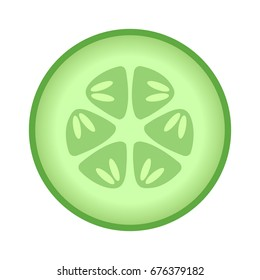 Cucumber slice cross section with seeds flat vector color icon for food apps and websites