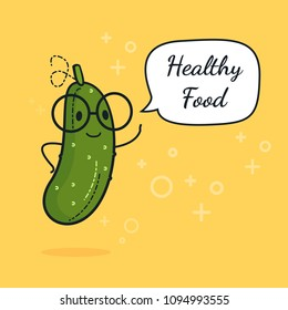 Cucumber with speech bubble. Balloon sticker. Cool vegetable. Vector illustration. Cucumber clever nerd character. Healthy food concept. Smart vegan diet poster