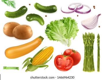 Cucumbers, coriander seeds, onions, potatoes, lettuce, zucchini, corn, tomato, asparagus. Vegetables 3d realistic vector set