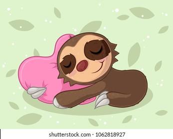 Cuddling cartoon sloth cuddling with a pillow