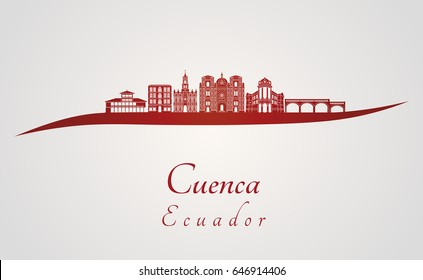Cuenca EC skyline in red  and gray background in editable vector file