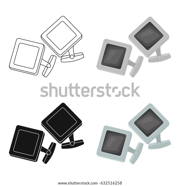 Cufflinks icon in cartoon style isolated on white background. Jewelry and accessories symbol stock vector illustration.