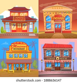 Cuisine of different nationalities vector, building flat style. Exteriors of architecture, japanese and chinese, mexican and indian dishes, coffee house