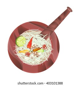 Cuisine and Food, 5 Ingredients Green Papaya Salad Recipe in Wooden Mortar Isolated on White Background.