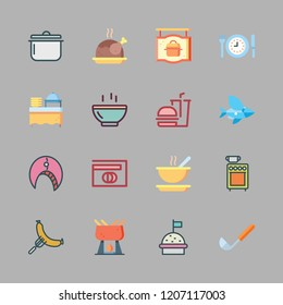 cuisine icon set. vector set about catering, hamburger, food and ladle icons set.
