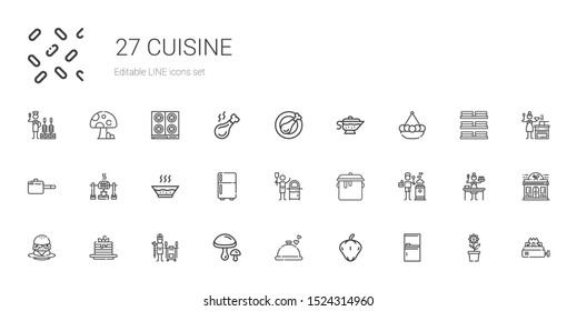 cuisine icons set. Collection of cuisine with fridge, pepper, dinner, mushrooms, tandoor, pancakes, burger, stove, pot, pizza, soup, roast. Editable and scalable cuisine icons.