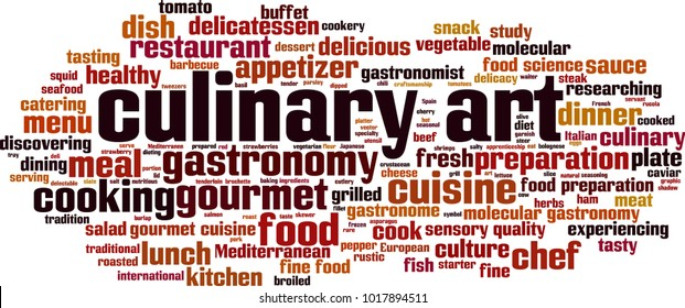 Culinary art word cloud concept. Vector illustration