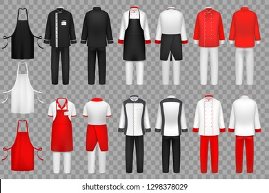 Culinary clothing. Chef uniform, kitchen textile clothes vector isolated set