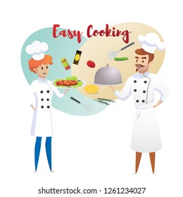 Culinary Concept Illustration Restaurant Business. Vector Illustration Cartoon Chefs, Women Chefs are Holding Ready made Dishes Restaurant Menu Background Easy Cooking. Isolated White Background