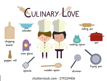 Culinary Love Couple Cookers Vector