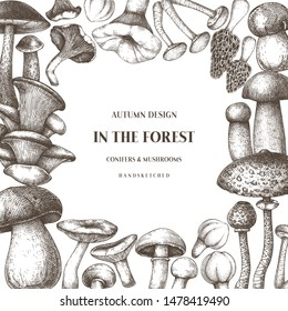 Culinary mushrooms frame design. Hand drawn healthy food template. Forest plants sketches. Perfect for recipe, menu, label, icon, packaging. Vintage mushrooms background. Botanical illustration.