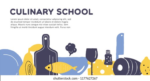 Culinary school banner. Illustration of utensils and food. Vector design.