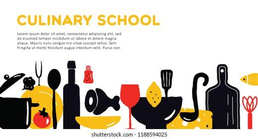 Culinary school banner. Illustration of utensils and food. Vector design.