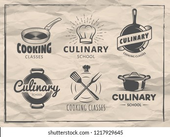 Culinary school logos. Vector emblems for cooking classes, workshops and courses. Set of monochrome badgess with chefs hat, pans and kitchenware on vintage paper background