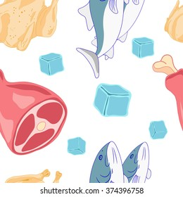 Culinary seamless pattern of meat, poultry and fish