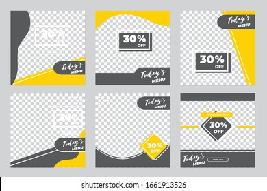 Culinary social media post templates. Vector illustration EPS 10