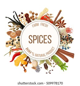 Culinary spices big set with round emblem. Bunch of cooking seasonings. For cosmetics, restaurant, store, market, natural health care products. Can be used as logo design, price tag, label