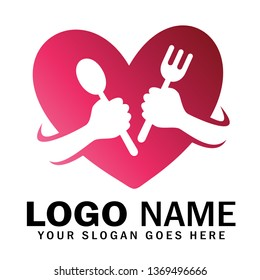 Culinary symbol logo, logo of the hand holds the cutlery with love shape, fork and spoon symbol, restaurant logo or place to eat