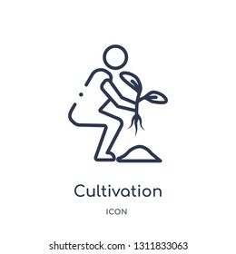 cultivation icon from nature outline collection. Thin line cultivation icon isolated on white background.