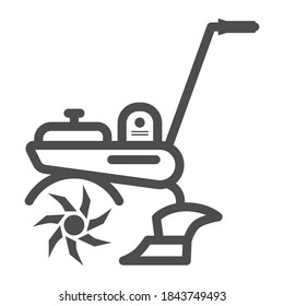 Cultivator line icon, Garden and gardening concept, Garden tools sign on white background, Agricultural cultivator icon in outline style for mobile concept and web design. Vector graphics.