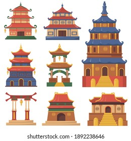 Cultural China traditional buildings flat set for web design. Cartoon Japanese, Chinese or Korean palaces and temples isolated vector illustration collection. Oriental and Asian architecture concept