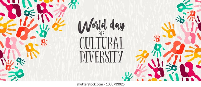 Cultural Diversity Day web banner illustration of colorful human hand prints for social support and unity.