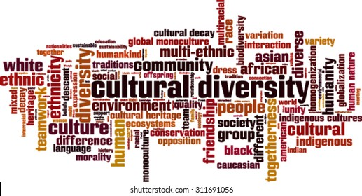 Cultural diversity word cloud concept. Vector illustration