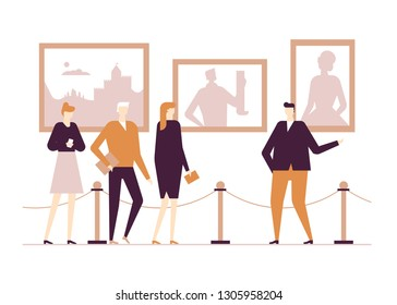 Cultural life - flat design style colorful illustration on white background. High quality composition with male, female characters in the museum or gallery, exhibition visitors listening to a guide