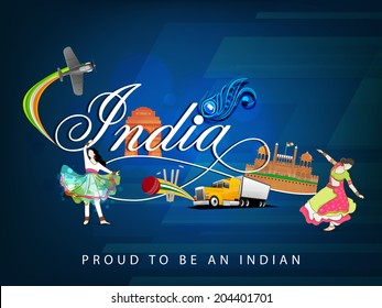 Cultural view of Republic of India with famous monuments, traditional dance and transportation and sports on floral decorated blue background.