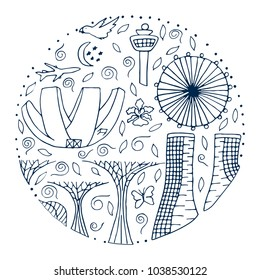 Culture and architecture of Singapore. Hand drawn round outline vector illustration.