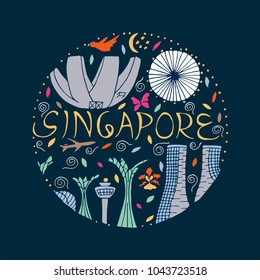 Culture and architecture of Singapore on a dark blue background. Symbols of Singapore round design.