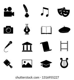 Culture, art, education vector icon set.