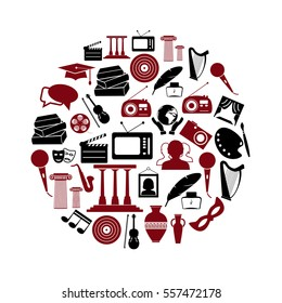 culture and art theme black and red simple icons set eps10