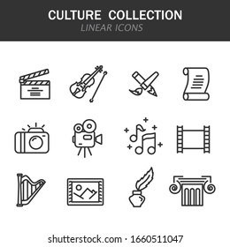 Culture collection linear icons in black on a white background