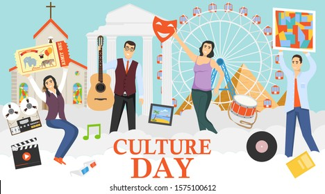 Culture Day. A group of mini characters people celebrate the day of culture. Mini characters hold paintings, musical instruments, theater masks, circus tickets. Vector illustration of a culture concep