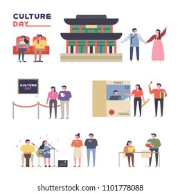 Culture Day People who enjoy various culture activities. flat design style vector graphic illustration set