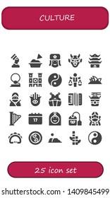 culture icon set. 25 filled culture icons.  Collection Of - Pharaoh, Guacamole, Russian, Hannya, Pagoda, Cowboy, Notre dame, Yin yang, Value, Opera house, Ninja, Hamsa, Kendo