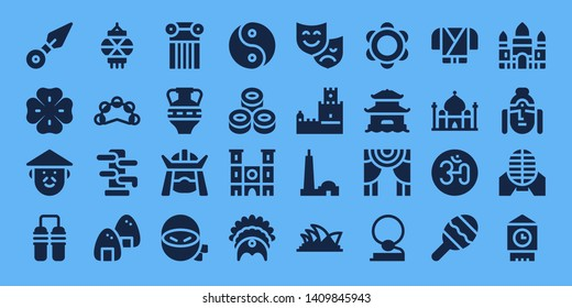 culture icon set. 32 filled culture icons. on blue background style Simple modern icons about  - Kunai, Clover, Chinese, Nunchaku, Lantern, Tambourine, Wing chun, Onigiri, Column