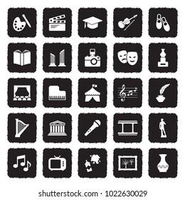Culture Icons. Grunge Black Flat Design. Vector Illustration.