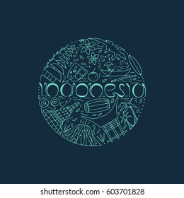 Culture of Indonesia. Hand drawn concept with symbols of Indonesia. Bromo volcano, komodo, borobudur, temple, food, house, musical instruments. Vector illustration.