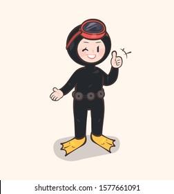 Culture of Jeju Haenyeo (women divers). Jeju Island illustration. Female diver character
