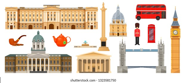 Culture, landmarks, attractions of London, Great Britain, United Kingdom. Museum, Big Ben, Trafalgar Square, Buckingham Palaces, University of Oxford, double-decker transport bus. Vector illustration.