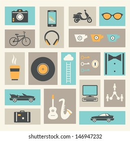 Culture, Lifestyle and Activities Infographic Icons Set. Vintage Style