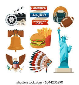 Culture objects of americans usa. Vector illustrations in cartoon style. American culture, statue of liberty, travel in america, eagle and football traditional